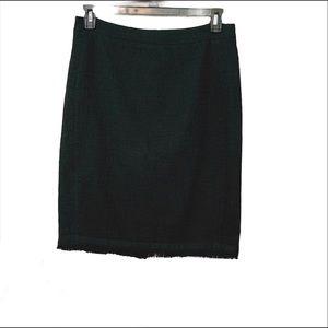 J. Crew Black Textured Tweed Pencil Skirt Fringe